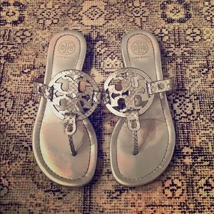 Silver Tory Burch Miller Sandals